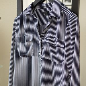 Blue and White Striped Long-Sleeved Blouse